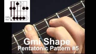 e minor pentatonic scale lesson with caged chord positions everywhere on the guitar