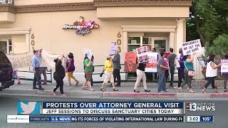 Protesters gather before AG Jeff Sessions speech Free HD Video