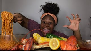CRAB LEGS + SPICY NOODLES + LOBSTER |SEAFOOD BOIL MUKBANG ~EATING SHOW