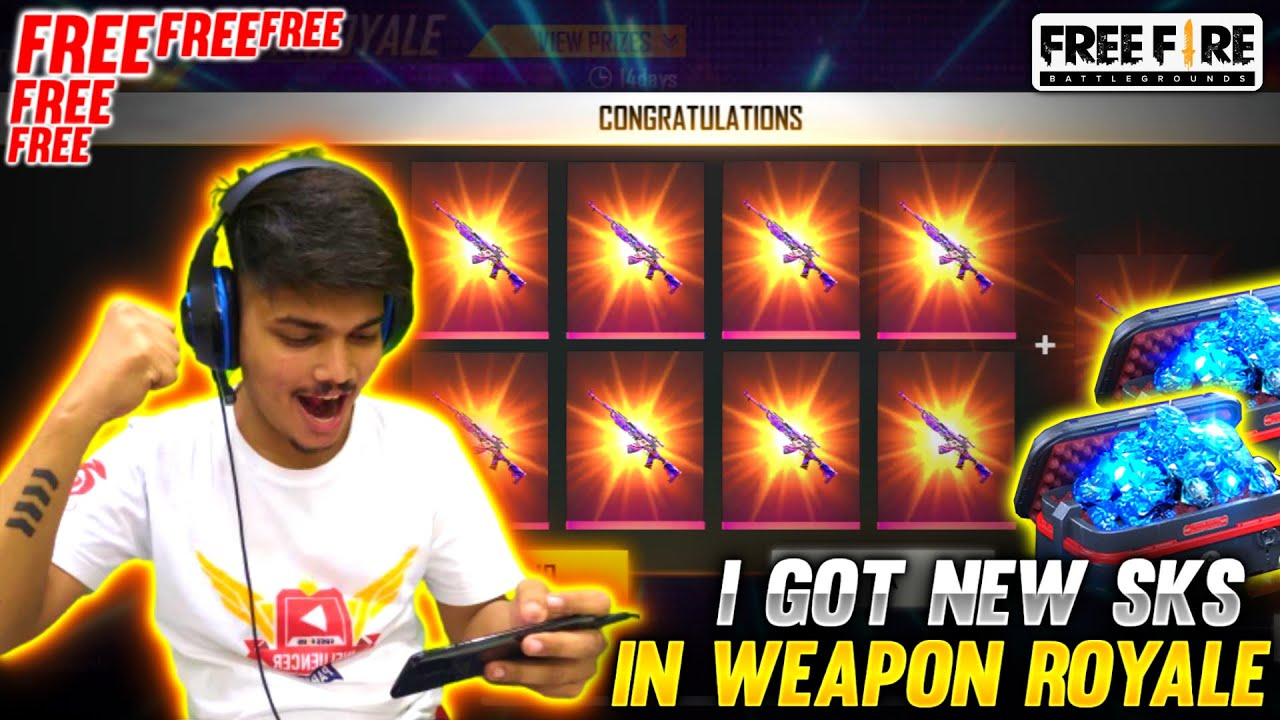 """I GOT NEW WEAPON ROYALE """" HYSTERIA SKS """" FOR FREE - GARENA FREE FIRE"""