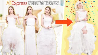 Transforming 3 CHEAP Wedding Dresses Into One GLAM Wedding Dress !!