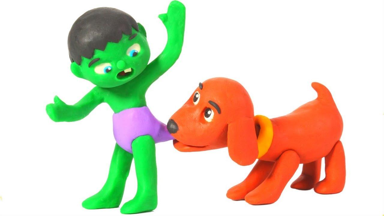 SUPERHERO BABIES MEET THE NEW DOGGY FAMILY ❤ SUPERHERO BABIES PLAY DOH CARTOONS FOR KIDS
