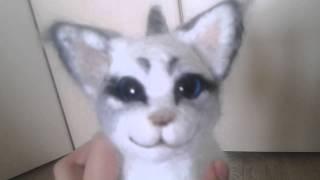 Пополнение. Белогривка и серый кот. Из шерсти.