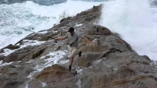 Freak Wave Catches Fisherman