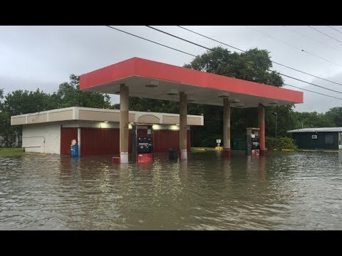 Beaumont-Port Arthur area floods by tropical storm Harvey, oil industry hit financially