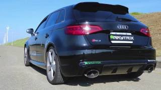 audi rs3 8v bang and pop sounds w armytrix valved exhaust