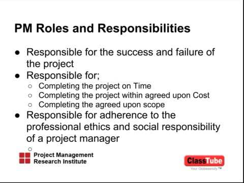 Project Manageru0027s Roles And Responsibilities   YouTube