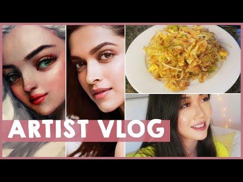 Painting Deepika + Vegetarian stir fry recipe // ARTIST VLOG 29