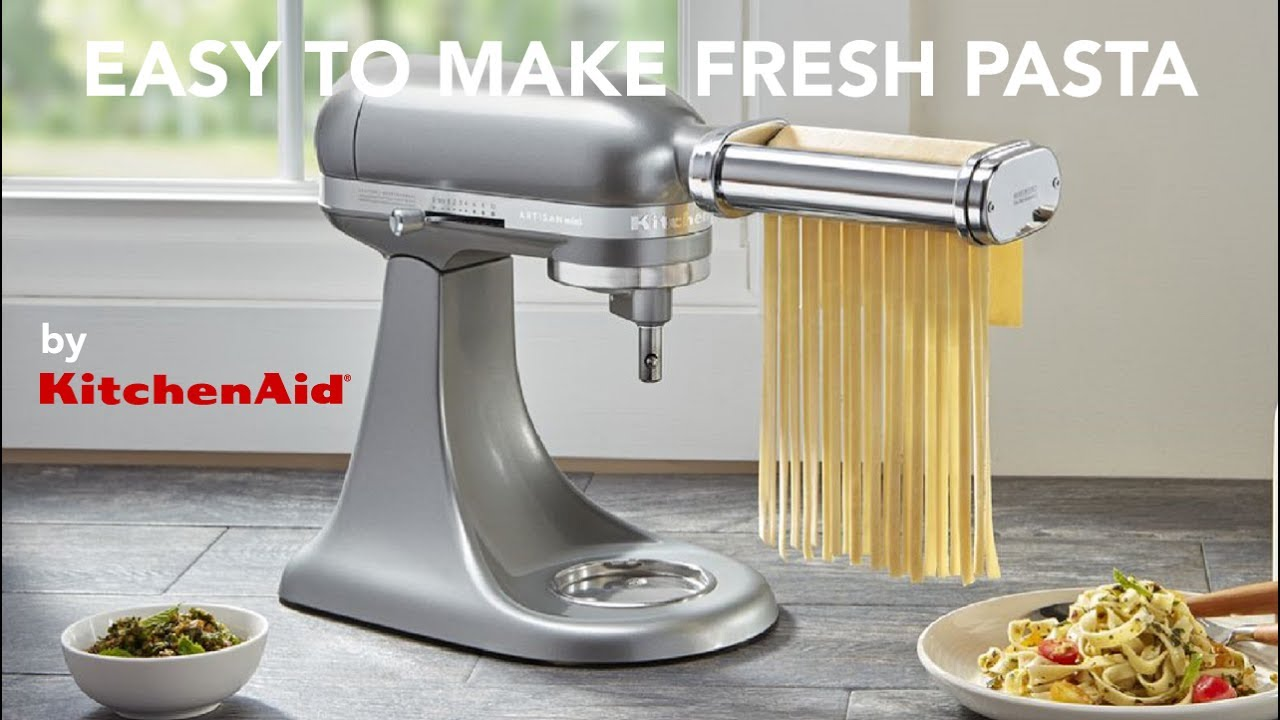 kitchen aid pasta attachment light fixtures flush mount easy made fresh using the kitchenaid attachments youtube