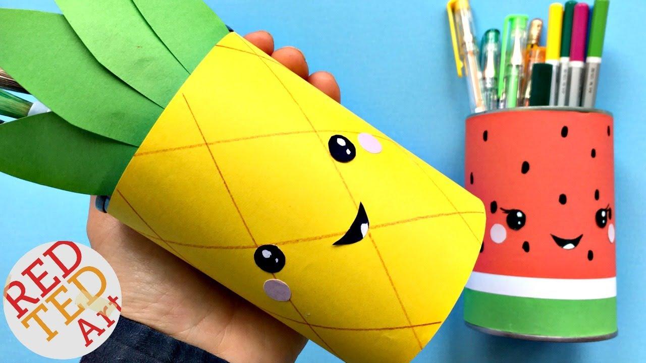 Easy Pineapple Pen Pots DIY - School Supplies DIY - Desk Organisers