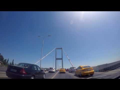 Stock - Istanbul Bosphorus Bridge - Europe to Asia - Slow Traffic - HD