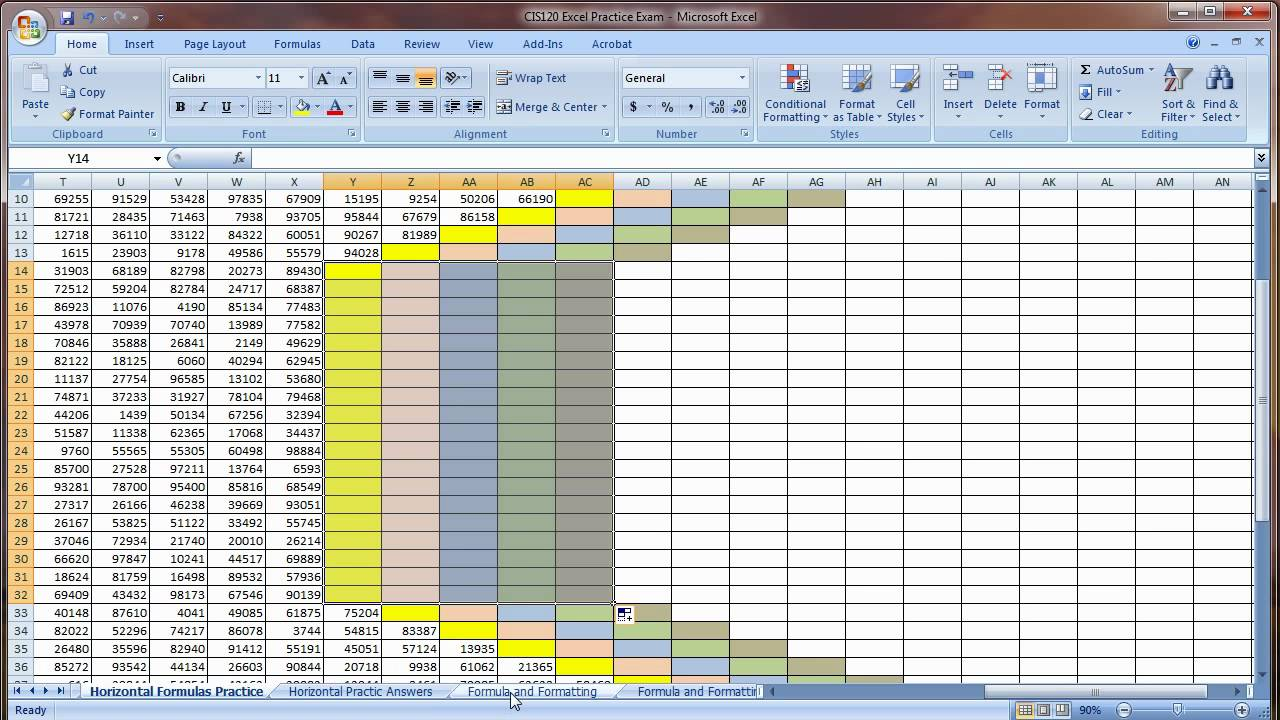 Excel Basic Practice Exam Quiz Instructionsv