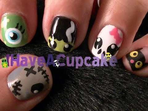 Halloween monster nail art youtube halloween monster nail art prinsesfo Image collections