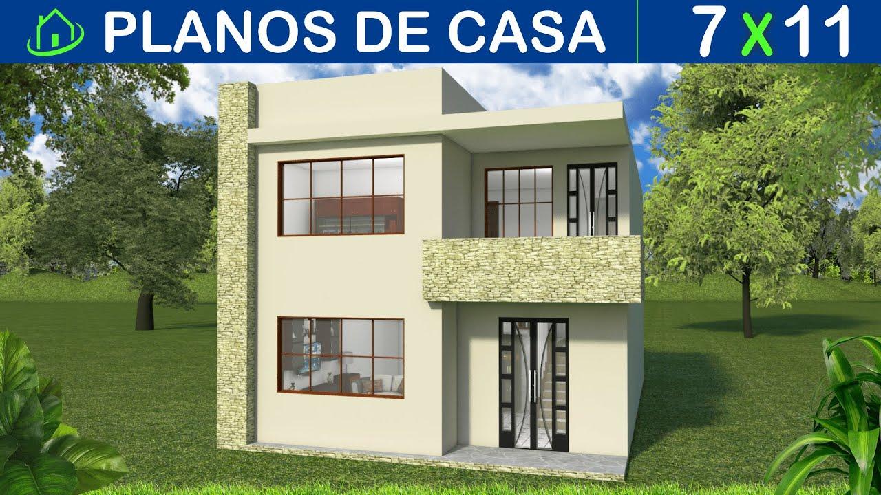 Planos de una Casa ECONÓMICA pequeña con Fachadas modernas 2 plantas 3 dormitorios 2 baños 84 Mts2