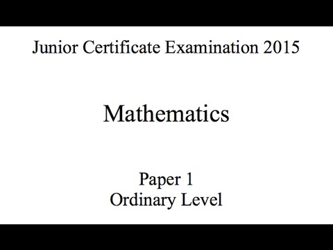 Junior Certificate Ordinary Level Maths Exam Paper 1 2015 Fully Worked Solutions