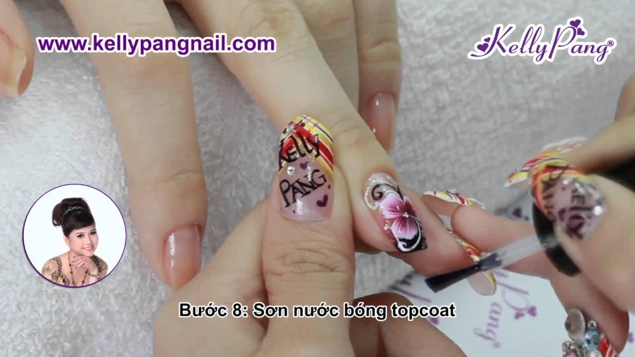 Học nail - Vẽ cọ bản Sức sống dâng trào | KellyPang Nail - YouTube