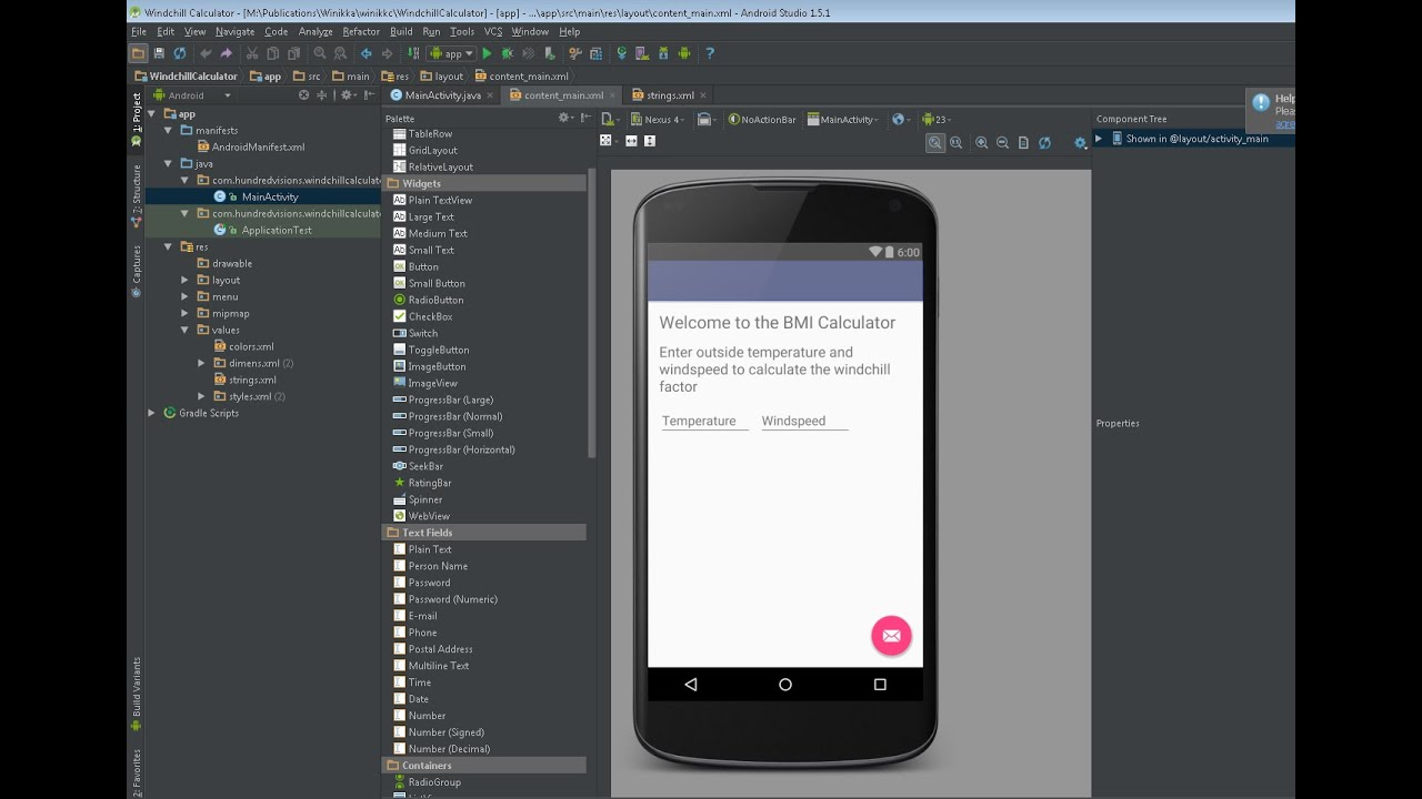 Create An Android Windchill Calculator App Part 1