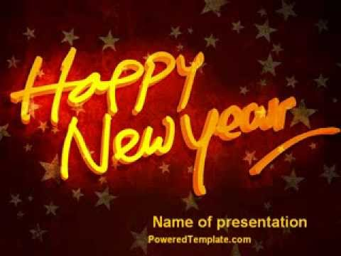Happy New Year Theme PowerPoint Template by PoweredTemplate