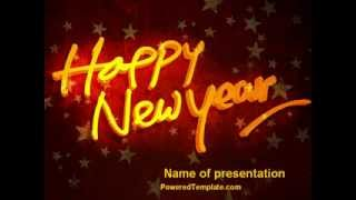 Happy New Year Theme PowerPoint Template by PoweredTemplate.com