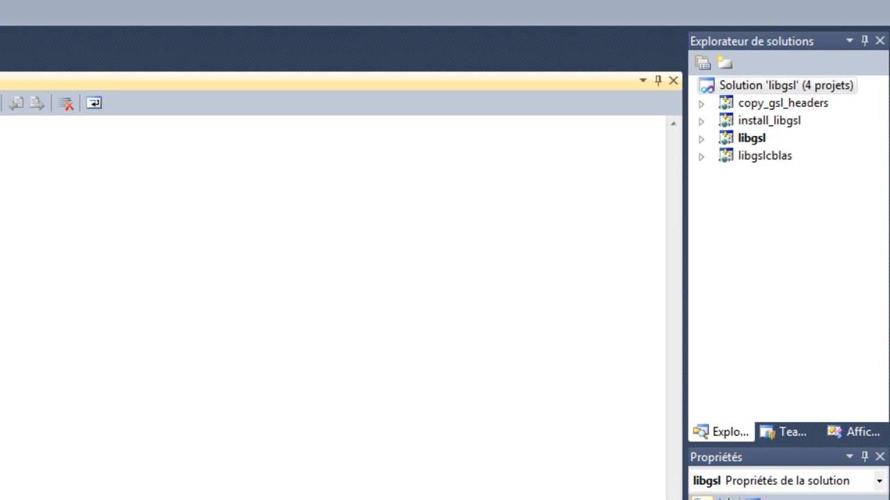 Include the library GSL (GNU Scientific Library) for Microsoft Visual  Studio 2010