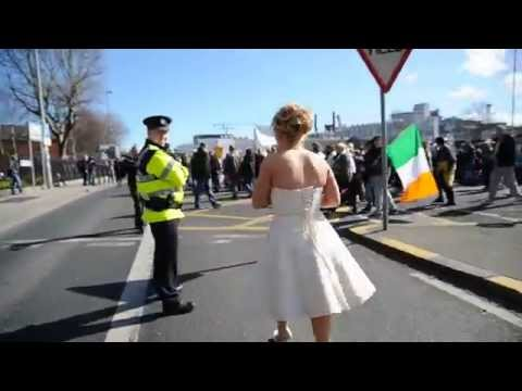 Newly Wed Bride, in Dublin City joins in on Irish Water Protest