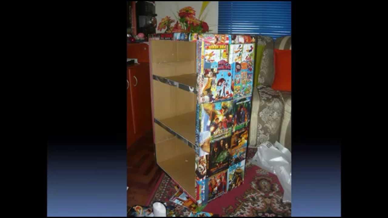 Como hacer un estante de caja de carton reciclado youtube for Como hacer una zapatera de madera paso a paso