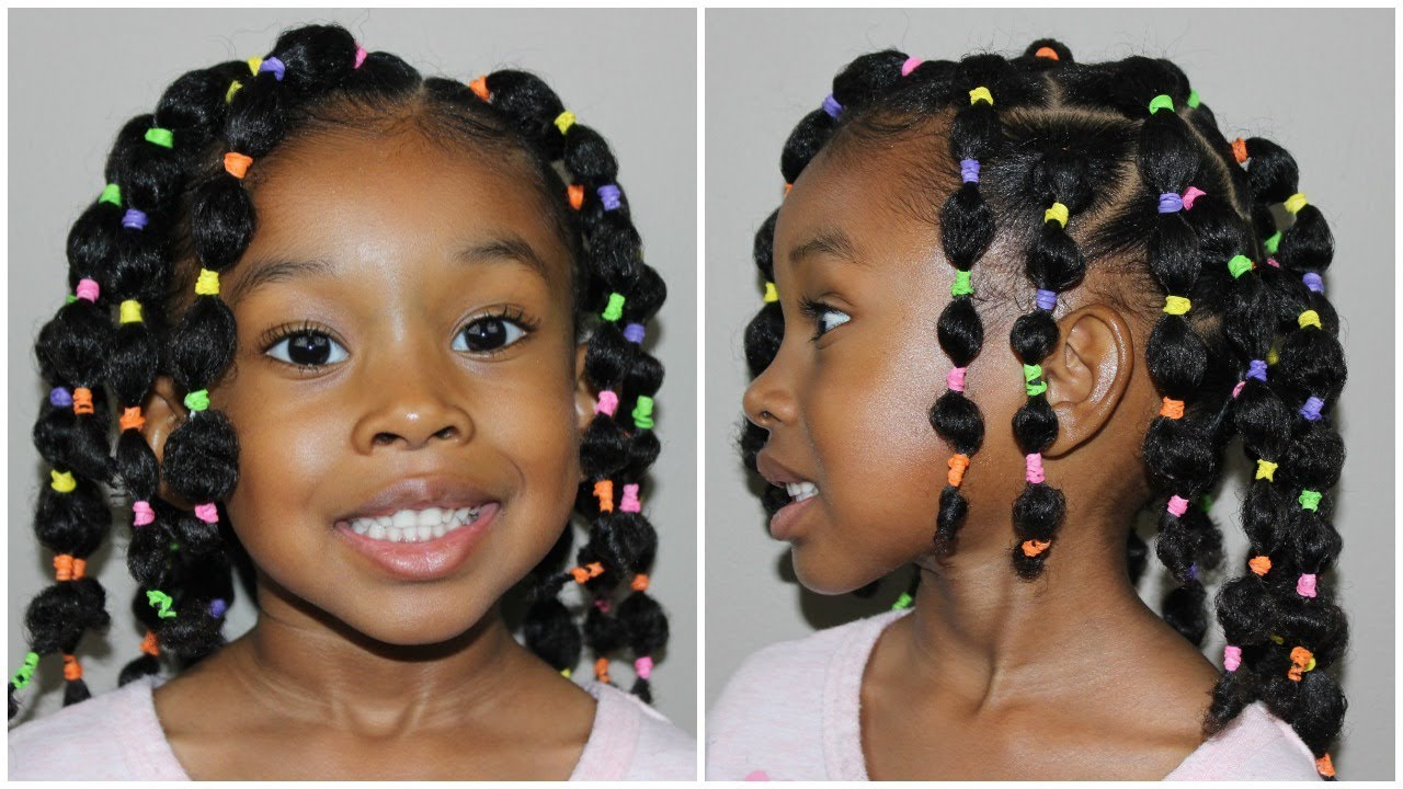 Pinterest Inspired Bubble Ponytail's | Kids Natural Hairstyles - YouTube