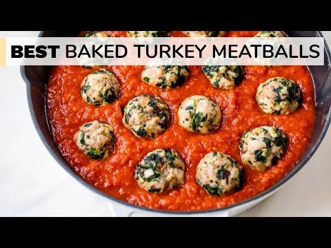 BEST BAKED TURKEY MEATBALLS   easy, healthy meatball recipe