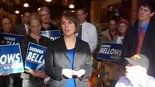 Maine Democratic US Senate Candidate Shenna Bellows Addresses Supporters in Lewiston