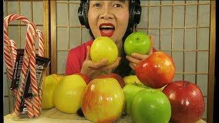 ASMR Eating apple .red apple, green Apple, yellow apple.