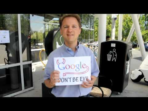 Google don't be evil magic by Jonathan Steigman at protest at Googleplex