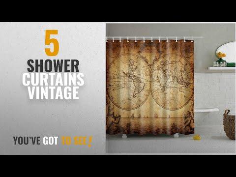 Top 10 Shower Curtains Vintage [2018]: Fangkun Shower Curtain Vintage World Map Design Art Painting