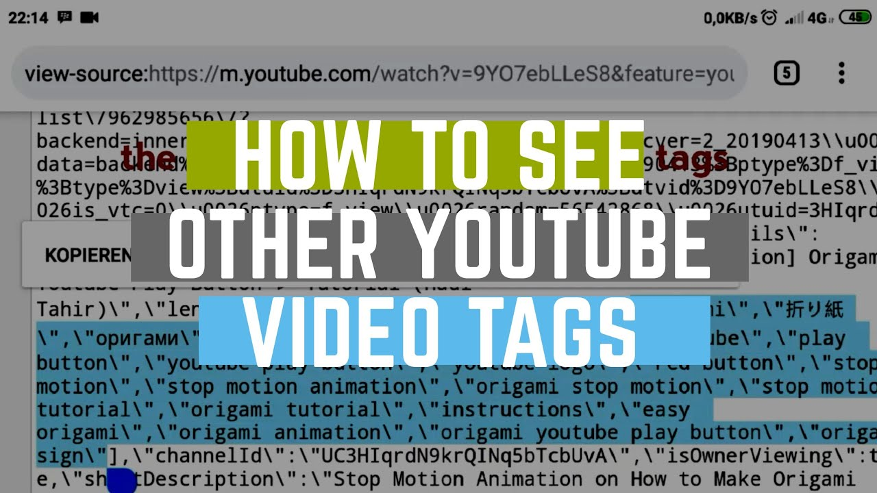 How to See Other Youtube Video Tags, Using Browser- without Extension