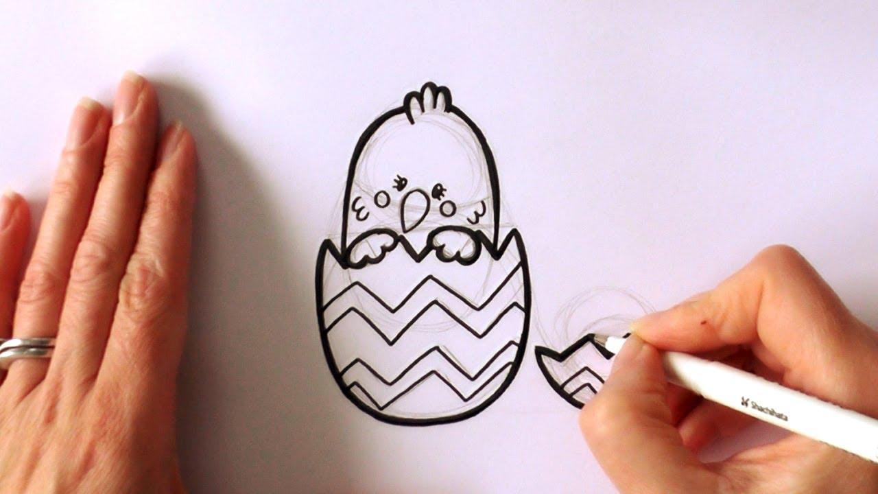 How To Draw A Cartoon Easter Chick Popping Out Of An Egg