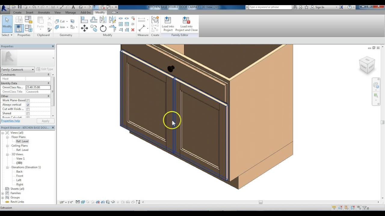 Revit Family Creation Kitchen Base Cabinet Modified To Double Door