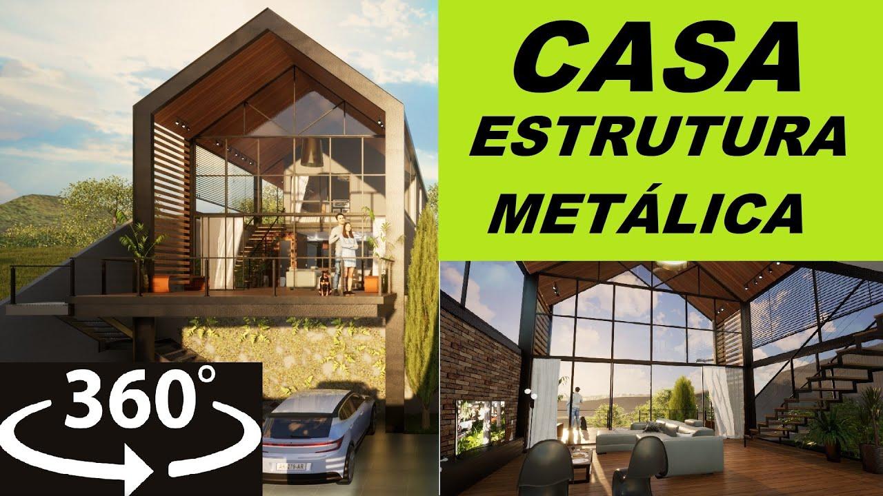 CASA DE ESTRUTURA METÁLICA   COM PISCINA 360 VR