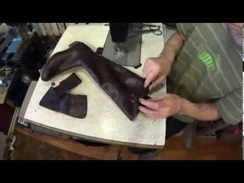 Как укоротить голенище сапог подробности. Ремонт обуви. Видео уроки.