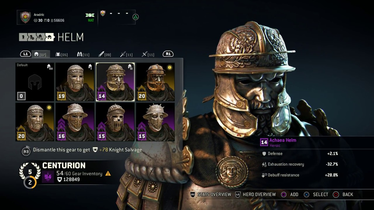 for honor centurion heroic armor set achaea helm chest