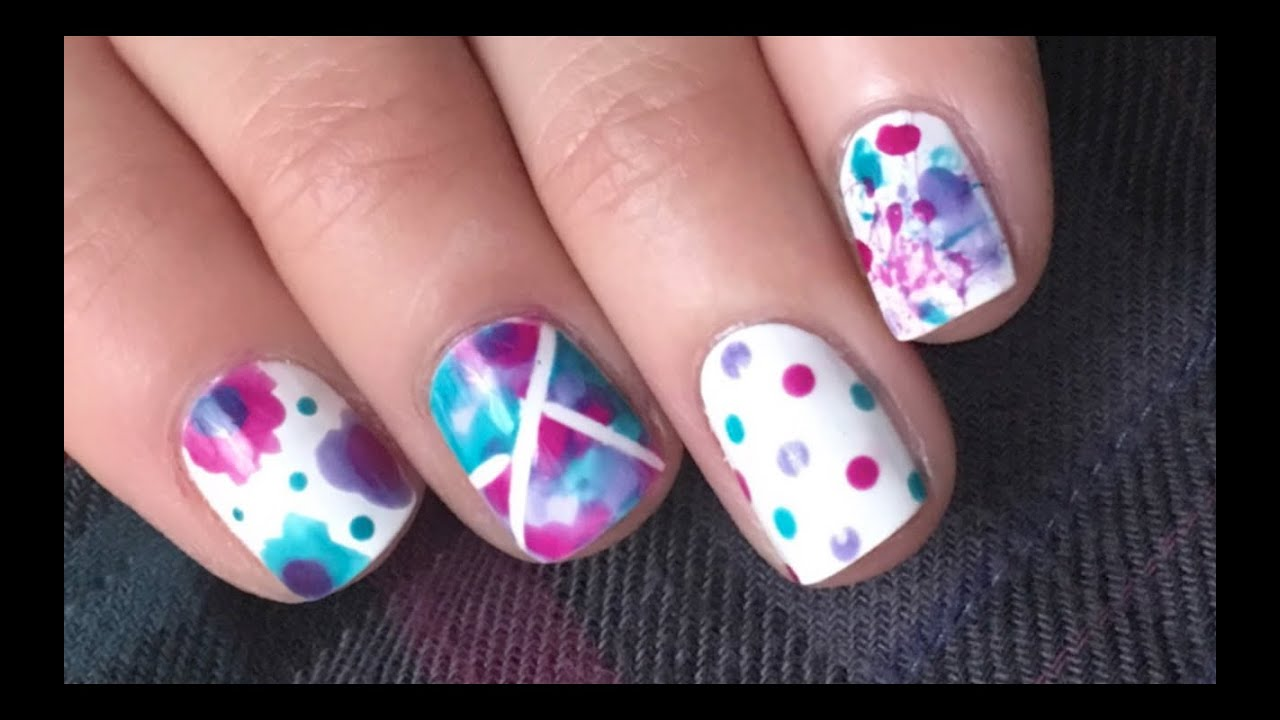 5 Super Simple Nail Designs using Essie Watercolors!! - YouTube