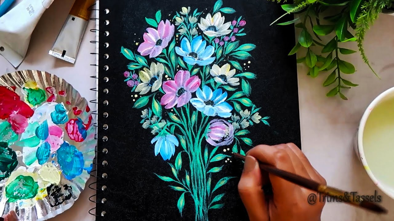 Flower Painting on Notebook Cover |Decorative Notebook Covers| Acrylic flower bouquet painting ideas