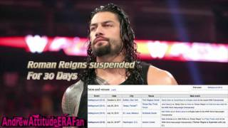 WWE News   Roman Reigns Suspended FOR 30 Days