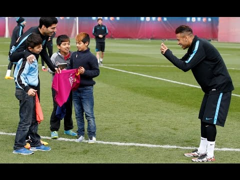 FC Barcelona training with kids