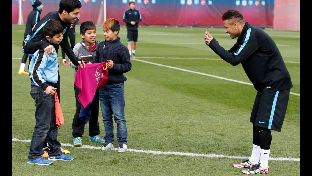 Fc Barcelona Training With Kids