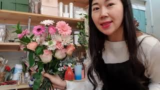 [꽃집일상]꽃다발 만들기 초간단~~^^ 집에서도 따라하…