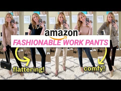 Amazon Work Pants For Women Haul + Try On *SURPRISING!*