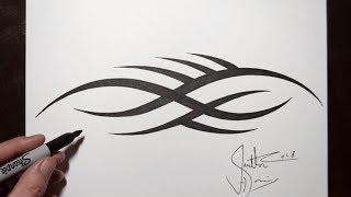 Spiky Tribal Tattoo Design - Drawing Tribal Regal