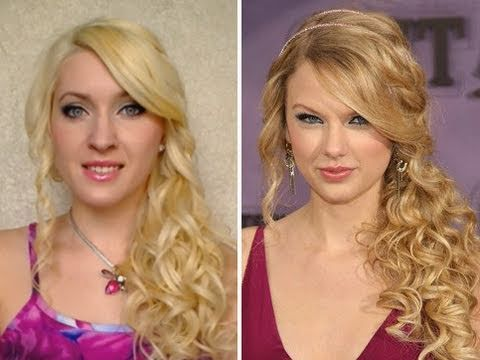 taylor swift curls with curling iron hair tutorial fryzura