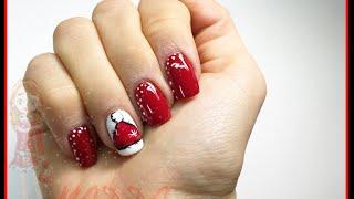 Nail art - Moncolore rosso e bianco cappello di Babbo Natale sulla destra Thumbnail