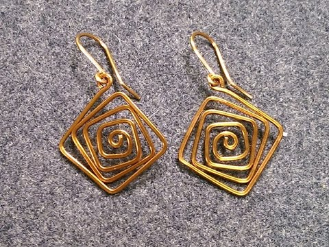 Simple square earrings - How to make wire jewelry 226
