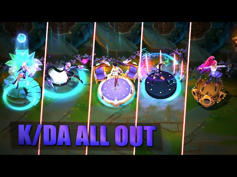 K/DA ALL OUT SKINS GAMEPLAY - Ahri Evelynn Kai'Sa Akali Seraphine & Baddest - League of Legends